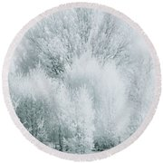 Magical Snow Palace Round Beach Towel