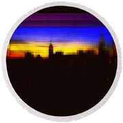 Magical Sunset And Skyline Round Beach Towel