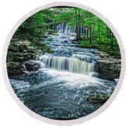 Magical Waterfall Stream Round Beach Towel