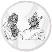 Magician And His Friend Round Beach Towel