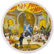 Magician Poster, C1895 Round Beach Towel