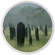 Magnetic Termite Mounds Round Beach Towel by Bob Christopher