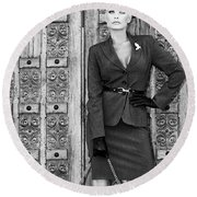 Magnificent Obsession Bw Palm Springs Round Beach Towel