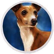 Magnifico - Italian Greyhound Round Beach Towel by Michelle Wrighton