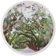 Magnolia Avenue Round Beach Towel