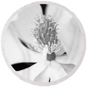 Magnolia Blossom 1 Black And White Round Beach Towel