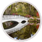 Magnolia Gardens' Bridge Round Beach Towel