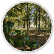 Magnolia Leaves Round Beach Towel