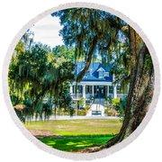 Magnolia Mansion Round Beach Towel