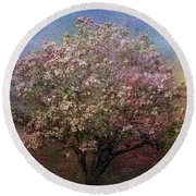 Magnolia Tree In Bloom Round Beach Towel