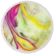 Magnolia Watercolor Abstraction Painting Round Beach Towel