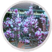 Magnolias At Home Round Beach Towel