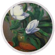 Magnolias On Brass Round Beach Towel
