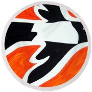 Magpie Original Painting Sold Round Beach Towel
