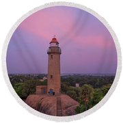 Mahabalipuram Lighthouse India At Sunset Round Beach Towel