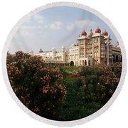 Maharaja's Palace And Garden India Mysore Round Beach Towel