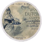 Maid Serving Coffee Advertisement For Woods Duchess Coffee Boston  Round Beach Towel