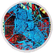 Maiden In Blue - Mary In The Temple Round Beach Towel