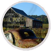 Mail Pouch Barn And Old Cars Round Beach Towel