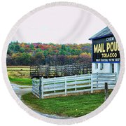 Mail Pouch Tobacco Barn In The Fall Round Beach Towel