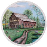 Mail Pouch Tobacco Barn Round Beach Towel