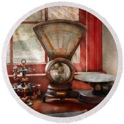 Mailman - The Mail Scale  Round Beach Towel by Mike Savad