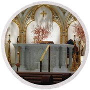 Main Altar Saint Jospehs Cathedral Buffalo New York Round Beach Towel