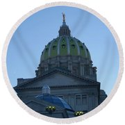 Main Dome Of The State Capital Round Beach Towel