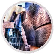 Main Entrance Of Guggenheim Bilbao Museum In The Basque Country Spain Round Beach Towel