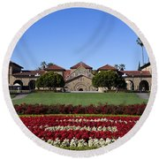 Main Quad Stanford California Round Beach Towel