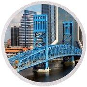 Main Street Bridge Jacksonville Florida Round Beach Towel