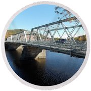 Main Street Bridge Shelbourne Falls  Round Beach Towel