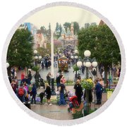 Main Street Disneyland 02 Round Beach Towel