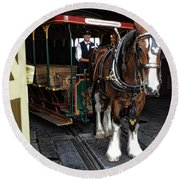 Main Street Horse And Trolley Round Beach Towel
