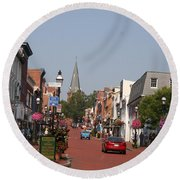 Main Street In Downtown Annapolis Round Beach Towel
