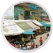 Main Street Marketplace In Tachilek-burma Round Beach Towel