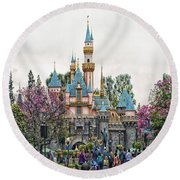 Main Street Sleeping Beauty Castle Disneyland 01 Round Beach Towel