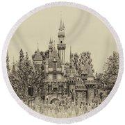 Main Street Sleeping Beauty Castle Disneyland Heirloom 01 Round Beach Towel