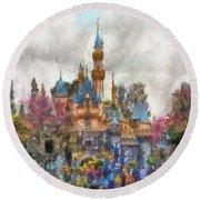 Main Street Sleeping Beauty Castle Disneyland Photo Art 02 Round Beach Towel