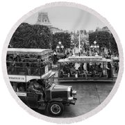 Main Street Transportation Disneyland Bw Round Beach Towel