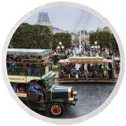 Main Street Transportation Disneyland Round Beach Towel