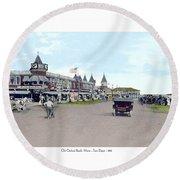 Maine - Old Orchard Beach Train Depot - 1910 Round Beach Towel
