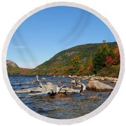 maine 1 Acadia National Park Jordan Pond in Fall Round Beach Towel