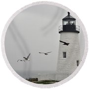 maine 11 Pemaquid Lighthouse Before Storm I Round Beach Towel