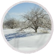 Maine Apple Trees Covered In Ice And Snow Round Beach Towel