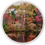Maine Barn Through The Trees Round Beach Towel by Jeff Folger
