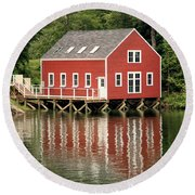 Maine Boat House Round Beach Towel
