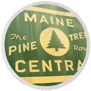 Maine Central The Pine Tree Route Round Beach Towel