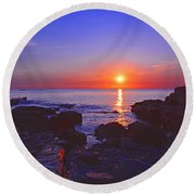 Maine Coast Sunrise Round Beach Towel