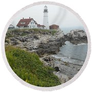 Maine Coastline  Round Beach Towel